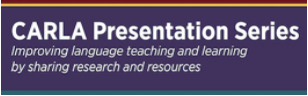 Logo: CARLA Presentation Series: Improving language teaching and learning by sharing research and resources