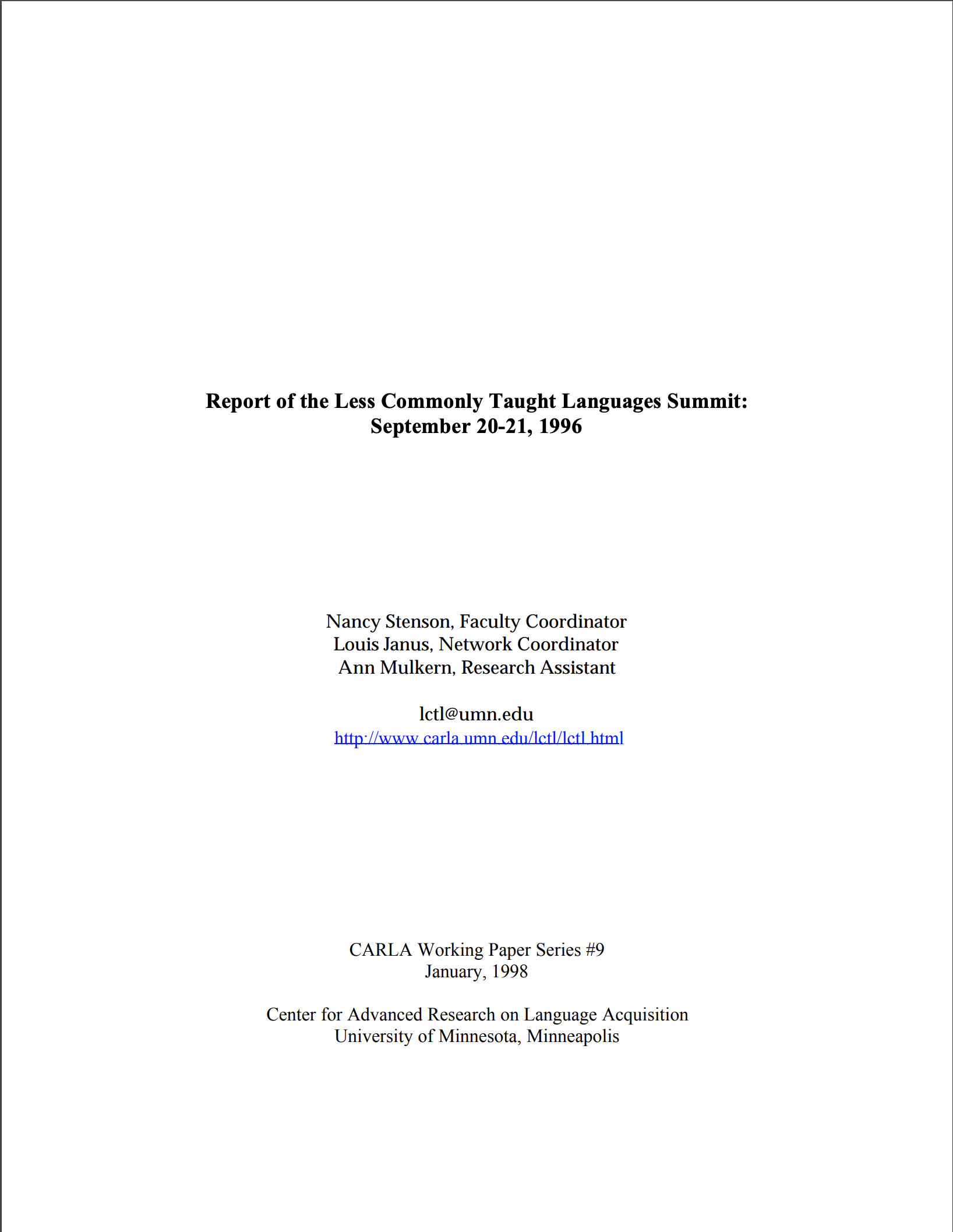 Report of the LCTL Summit: 1996