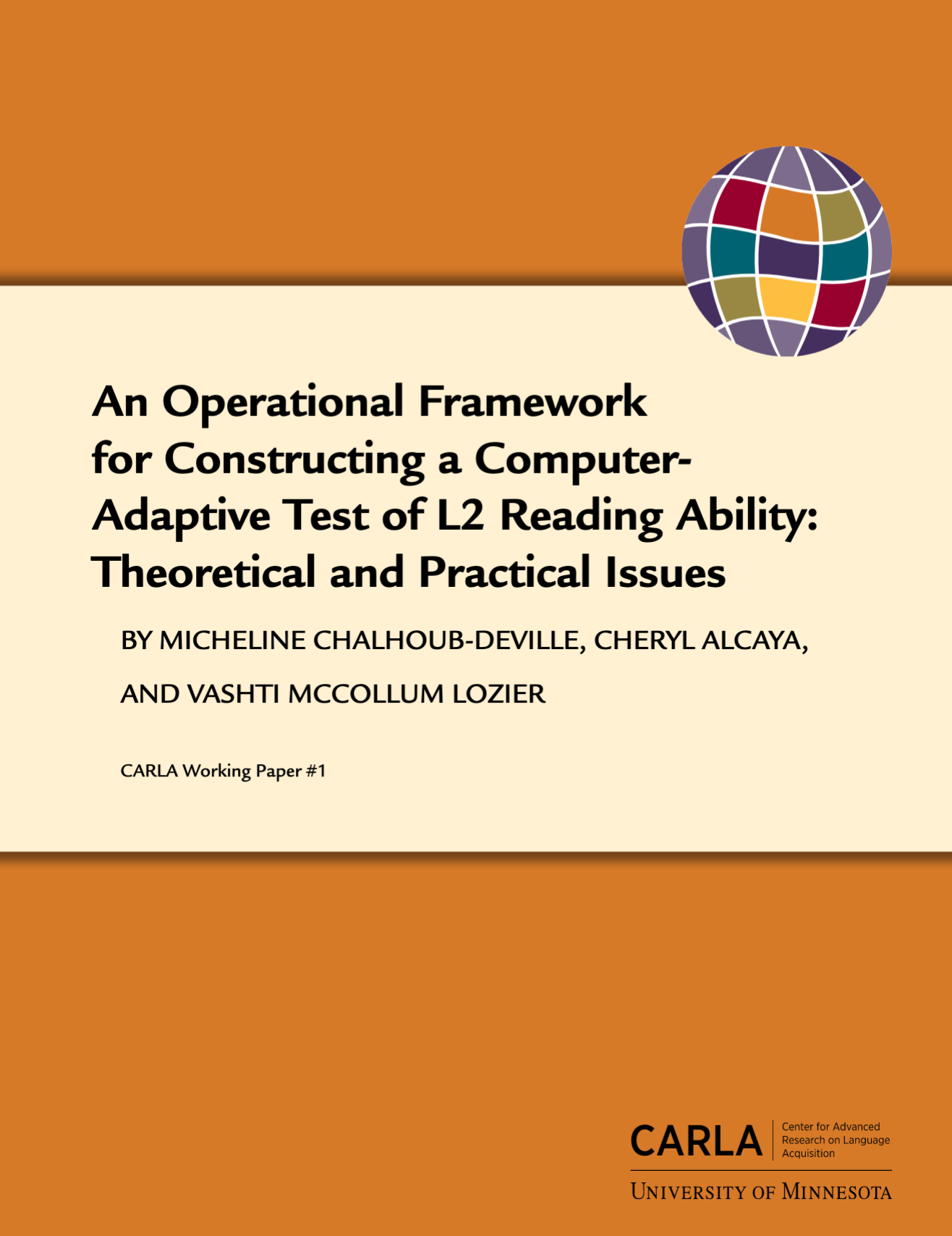 An Operational Framework for Constructing a computer-Adaptive Test of L2 Reading Ability